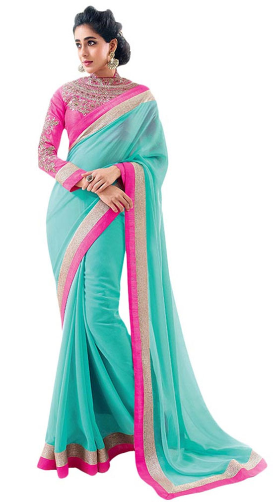 Blue Semi Chiffon Saree And Full Sleeve High Neck Blouse