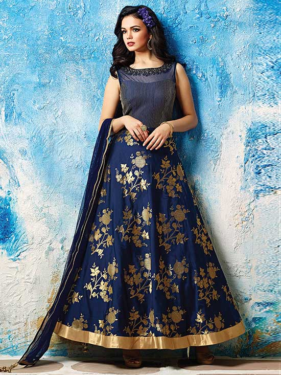 Blue Silk Neemzari Work Anarkali Suit