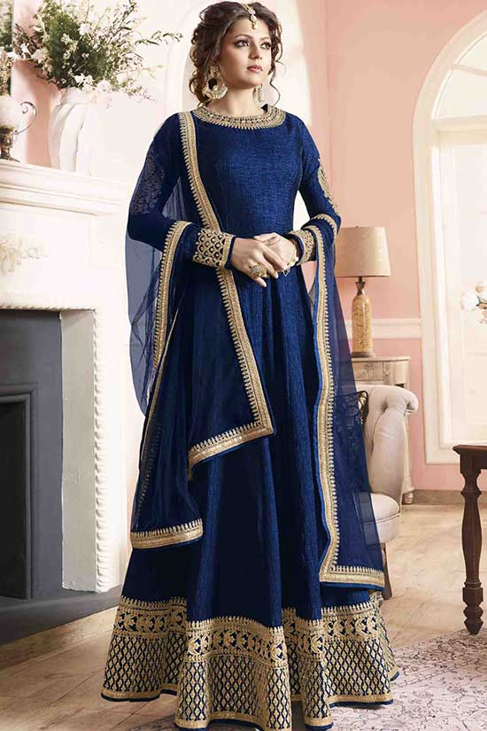 Blue Slik Flore length anarkali