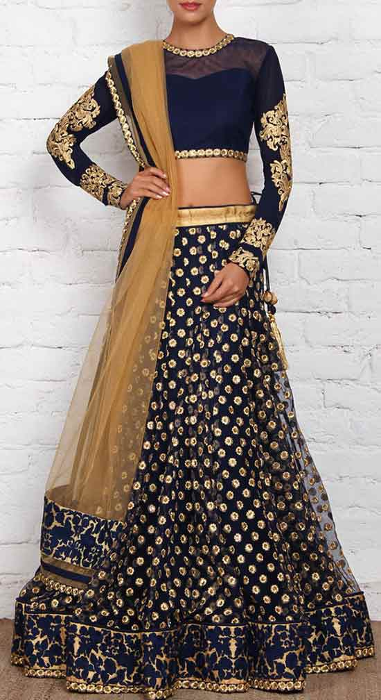 Blue and Golden Net & Art Silk Lehenga Set