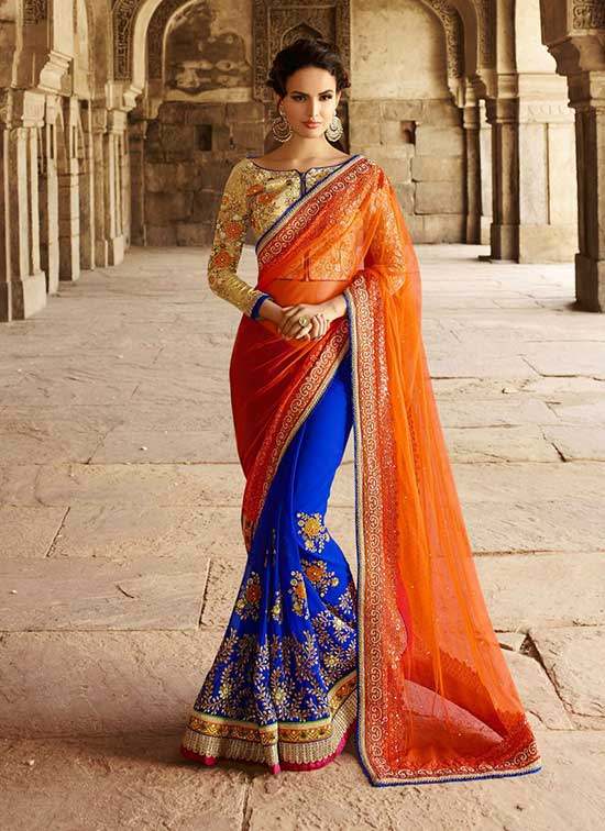 Blue and Orange Pure Georgette Designer Bridal Sarees