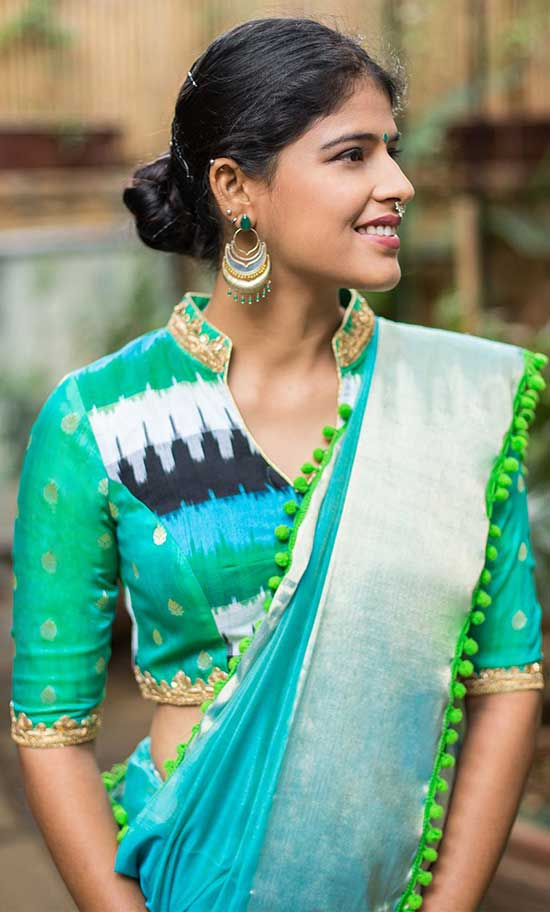 Blue Green Ikat and Silk Chinese Collar Blouse