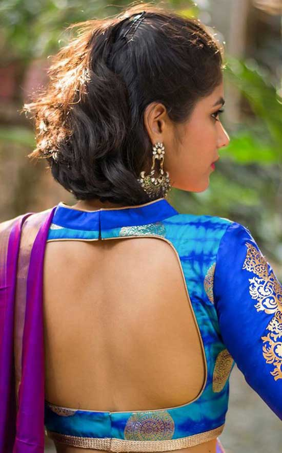 Blue-shibori-brocade-blouse-with-rich-details-sexyback