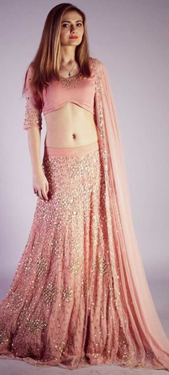 Blush pink, silver encrusted, gold pailette With Quarter sleeves Lehenga Choli