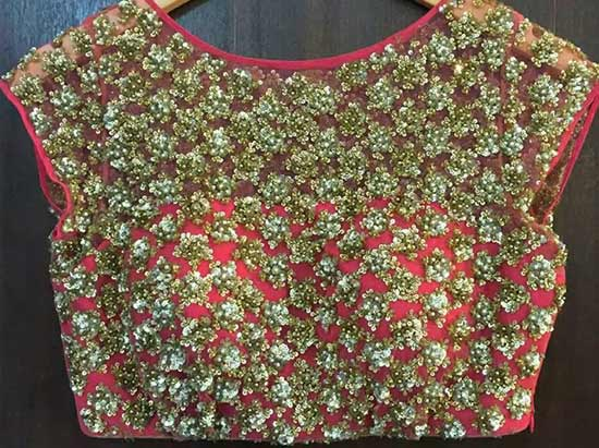 Boat Neck With Intricate Work Designer Blouse