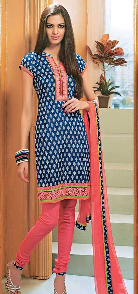 Charming Blue Cotton Churidar Suit