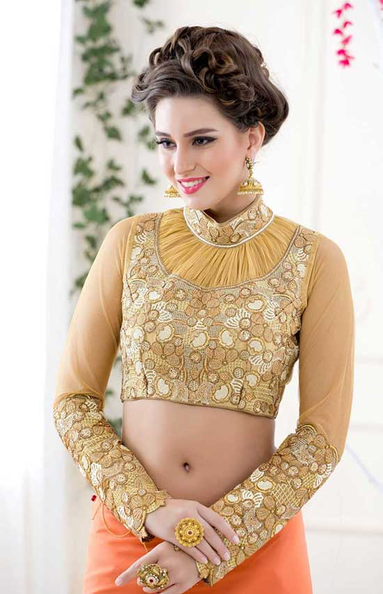 Chinese Collar Yoke Blouse With Full Sleeves