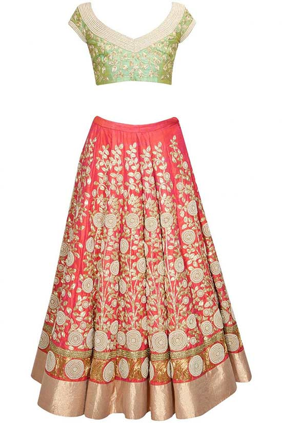 Coral color Lehenga Choli in raw silk with zari