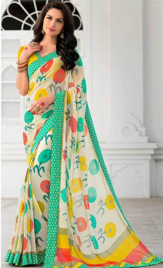 Cream Georgette Printed Saree
