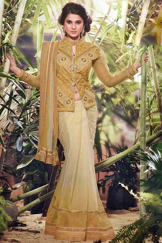 Cream Gold Net Saree with Black Gold Blouse