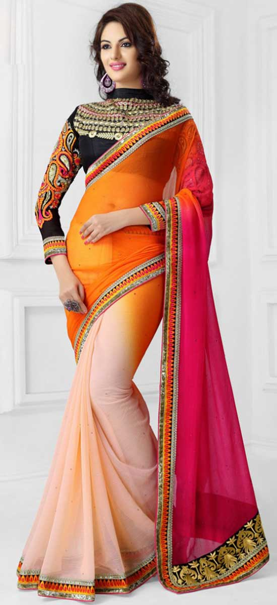 Cream, Hot Pink and Orange Stone Work and Zari Work Chiffon Saree