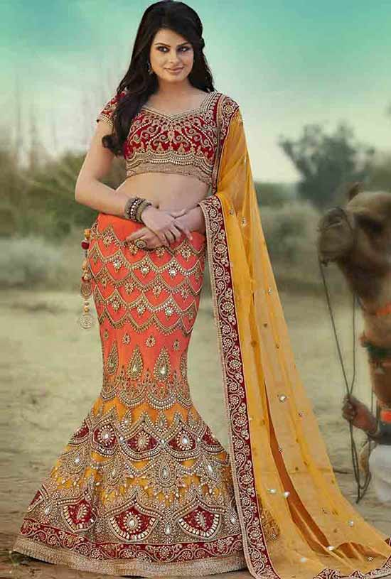 DESIGNER FISH CUT HAND WORK LEHENGA CHOLI