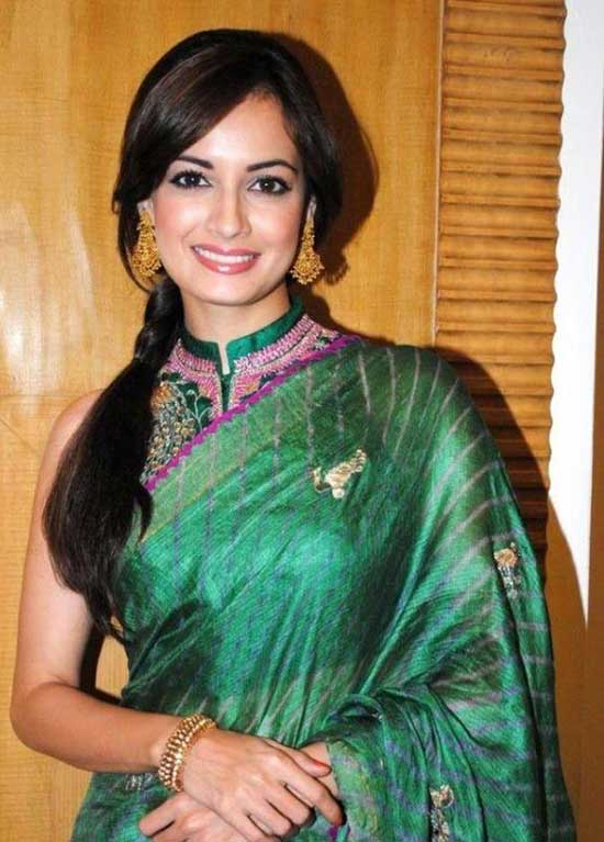 Dia Mirza in Green Saree with Collar Blouse