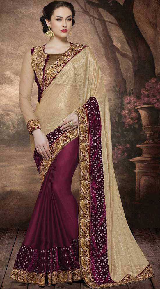 Deep Maroon & Gold Party Wear Saree With Jacket Model Blouse