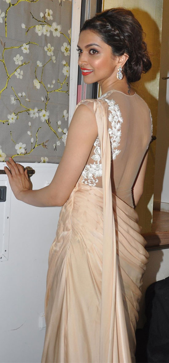 Deepika-Padukone-In-Cream-saree-with-Net-Blouse
