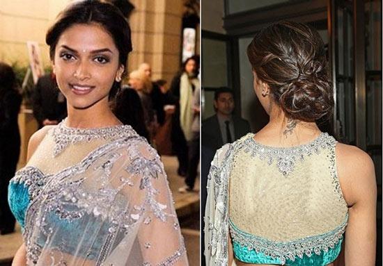Deepika Padukone In Sleeve Less Sheer Net Yoke Net