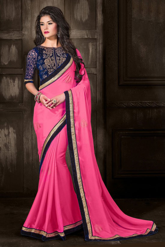 Dilara pink chiffon party wear saree with high necK blouse