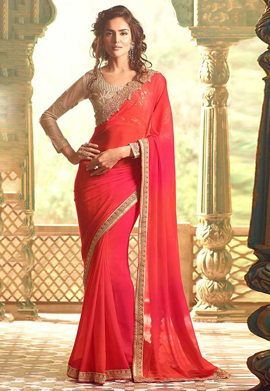 Embroidered Border Georgette Saree in Coral and Fuchsia