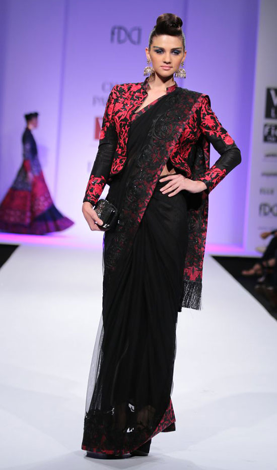 Embroidered Full Sleeves Jacket Model Blouse On Black Net Saree