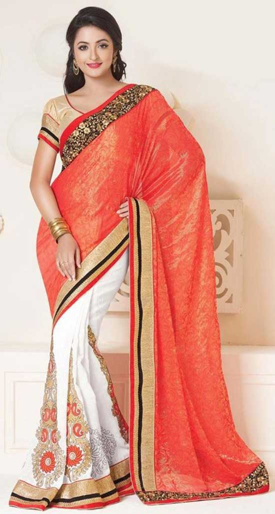 Ethnic coral and off white embroidered crepe half and half saree with puff sleeves