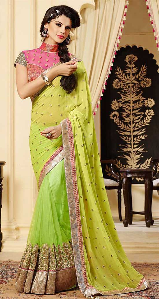 Fabulous Green Color Chiffon Saree With Sheer Net Yoke High Collar Blouse
