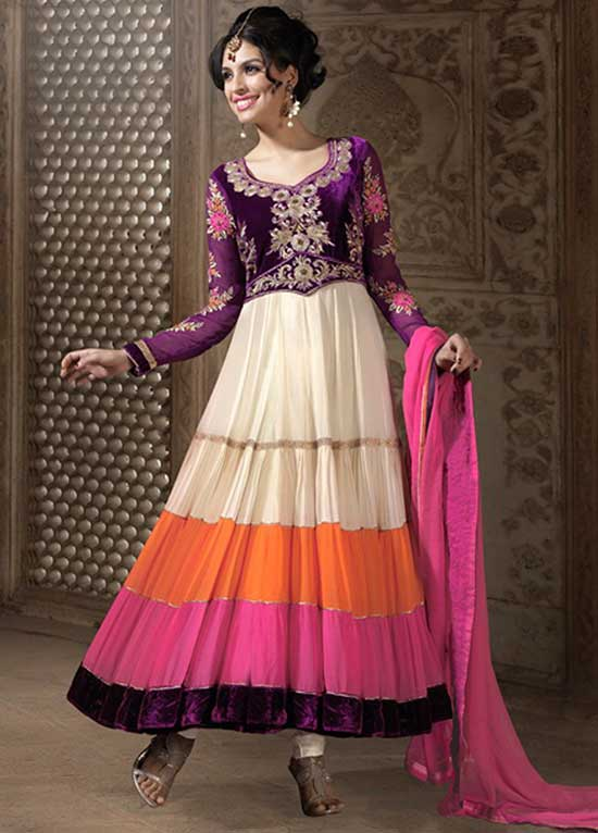 Faux-Georgette-Horizontal-Layer-Anarkali-Style-Suit-with-Dupatta