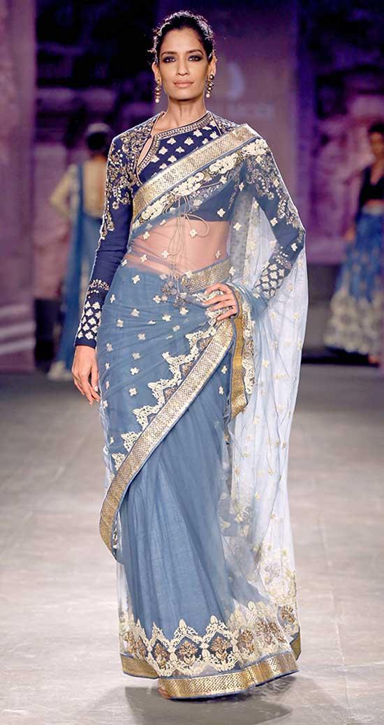 Full Sleeve Embroidered Indigo Net Saree In Dupion Slik