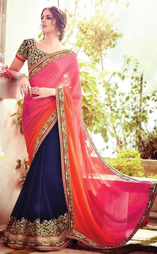 Georgette Navy Blue And Pink Designer Saree