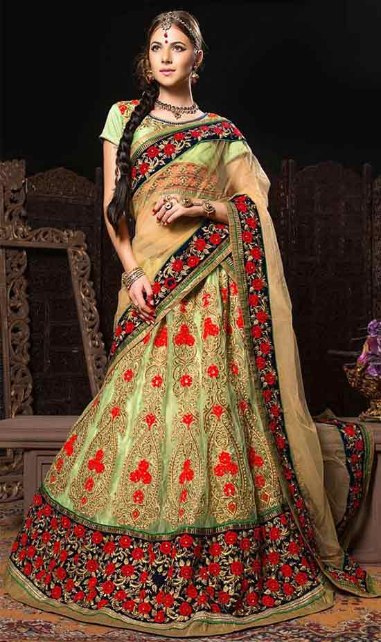 Glamorous green matchless net bridal wear rajwadi lehenga choli
