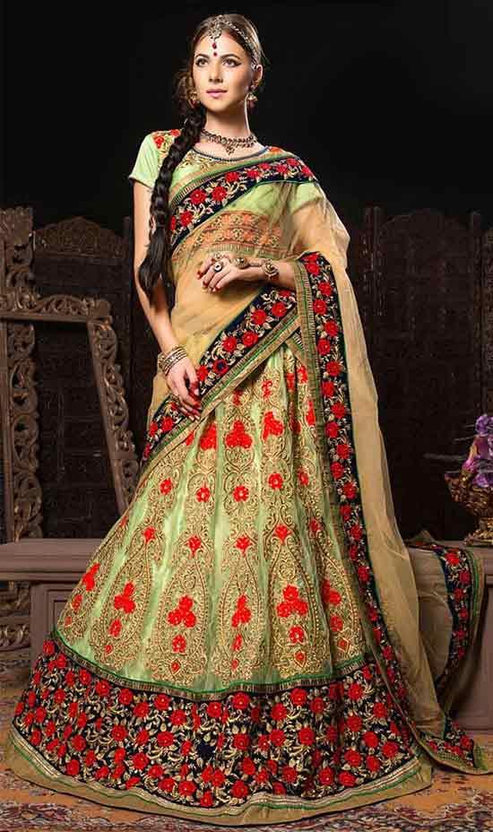 Glamorous green matchless net bridal wear rajwadi lehenga choli