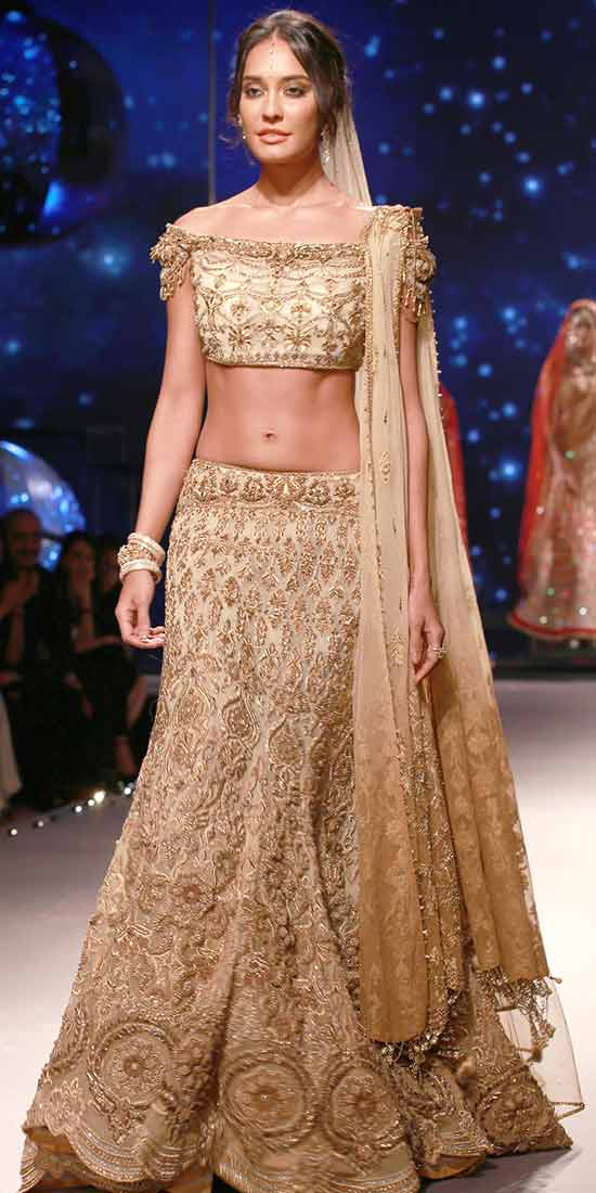 Gloden EmbellishedLehenga Choli With Off Shoulder Blouse