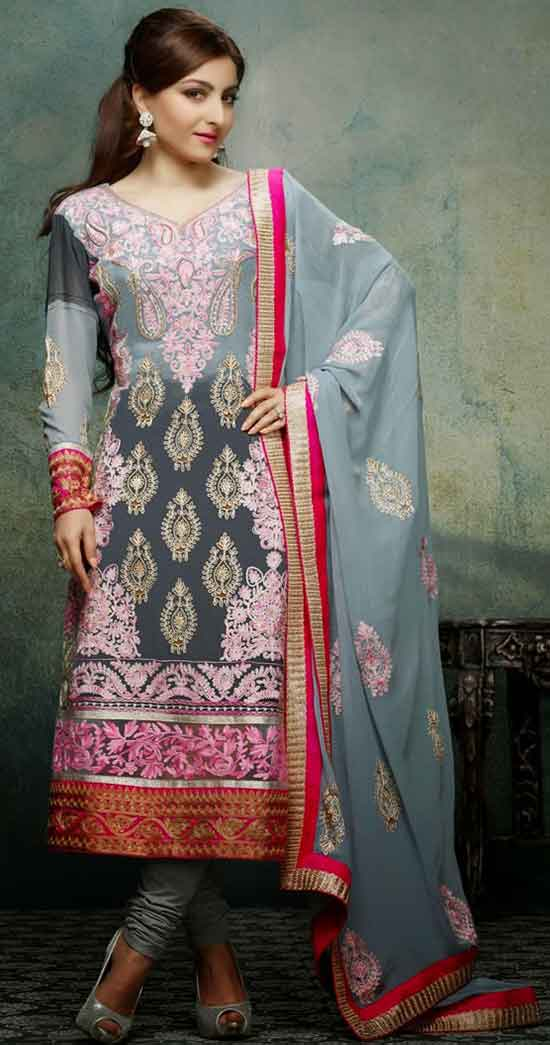 Glorious Grey and Pink Color Churidar Kameez