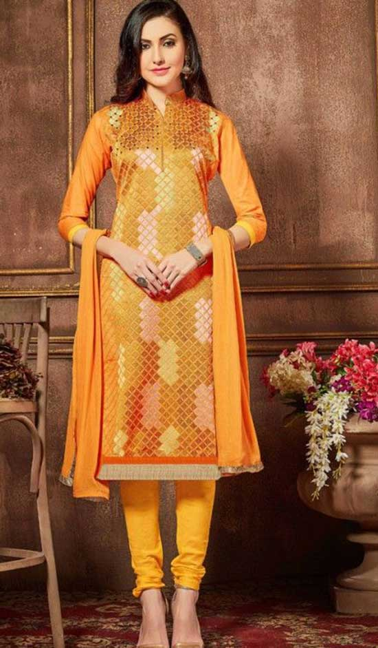 Graceful Orange Printed Salwar Kameez