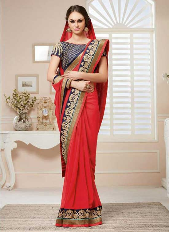 Gratifying Georgette Red Embroidered Work Designer Saree