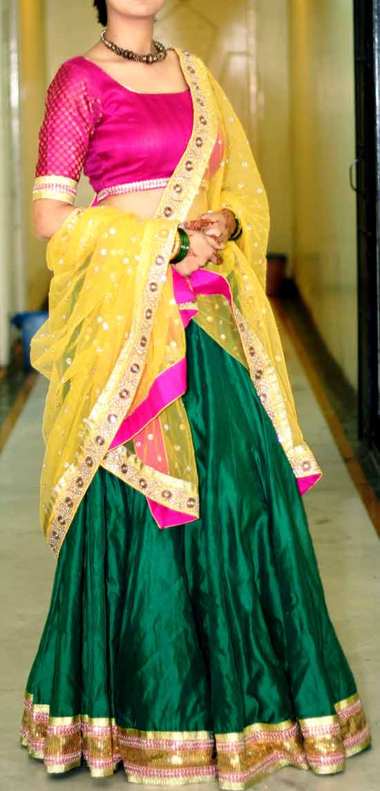 Green Lenhenga With Golden Heavy Sequins Lace And Kundan Work Dupatta With Yellow Border