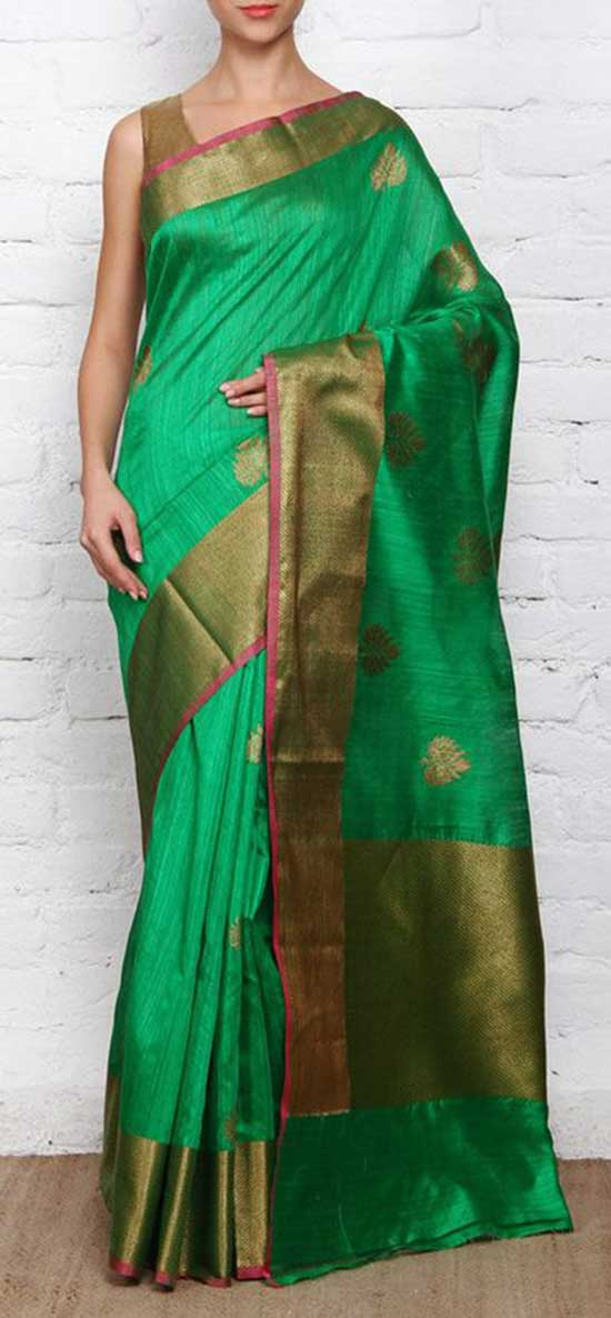 Green Zari Border Worked Banarasi Saree