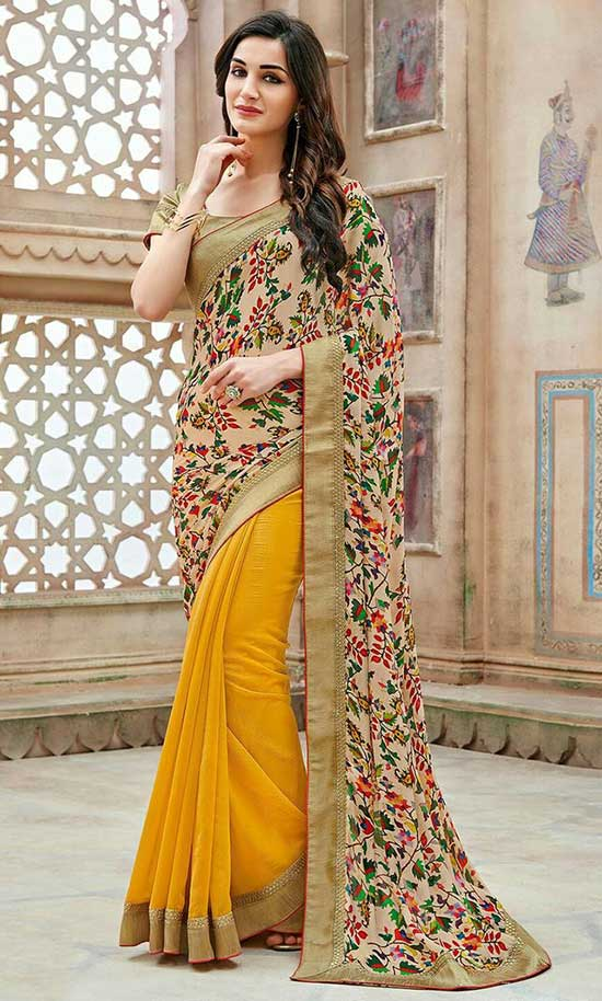 Half And Half Georgette Saree in Beige and Mustard