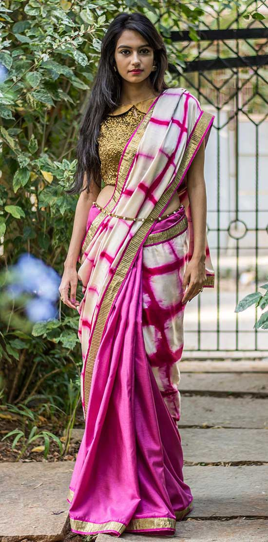 Half and Half Mauve Pink Saree with Peter Pan Collar