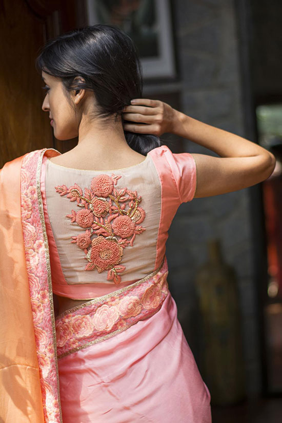 Hand-embroidered-pink-blouse-With-Back-Boat-Neck