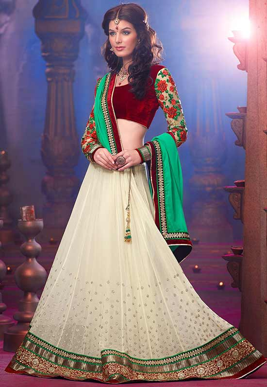 Heart Beats Georgette Cream Lehenga Choli