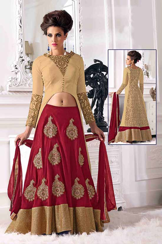 Heavy Red Designer Indo Western Floor Touch Lehenga