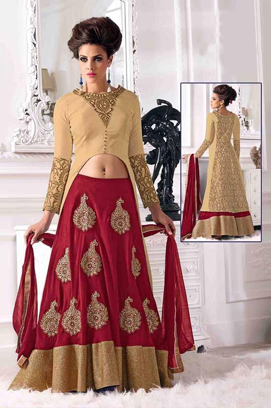 Heavy Red Designer Indo Western Floor Touch Lehenga