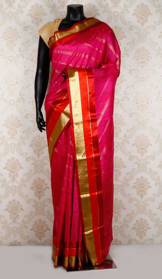 Hot pink & gold pure banarasi silk classy zari weaved saree with red & gold border