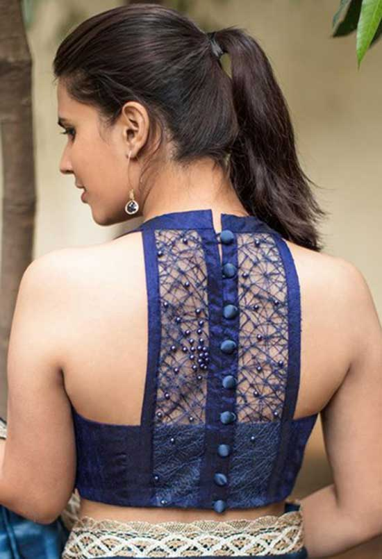 House-Of-Blouse-Navy-blue-embroidered-net-racer-back-blouse