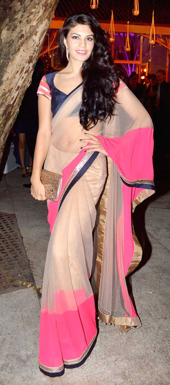Jacqueline Fernandez Cream And Pink Dual Color Saree