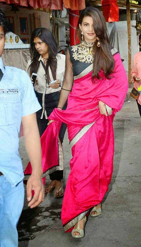 Jacqueline Fernandez in Pink Saree With Maharani Blouse