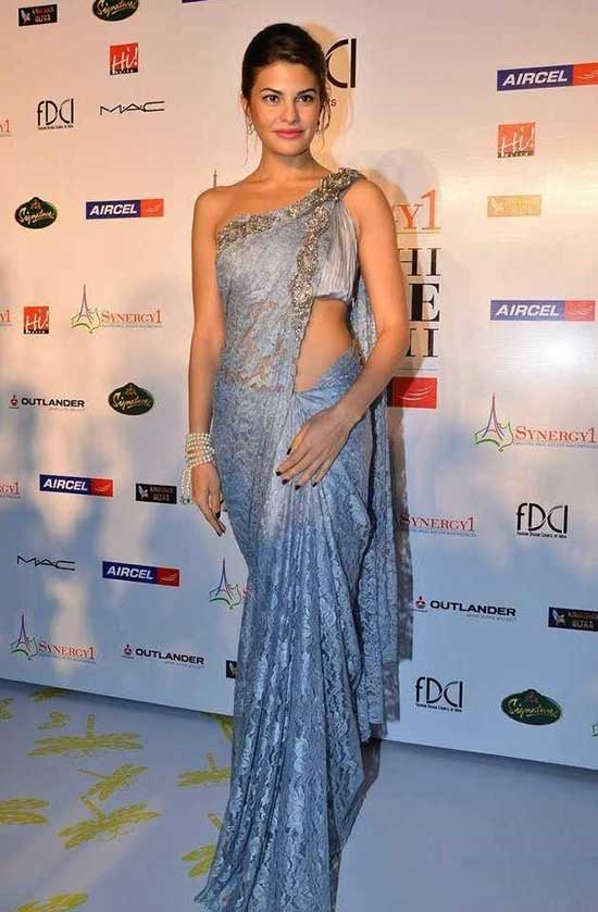 Jaqueline Fernandez In Blue Lace Saree