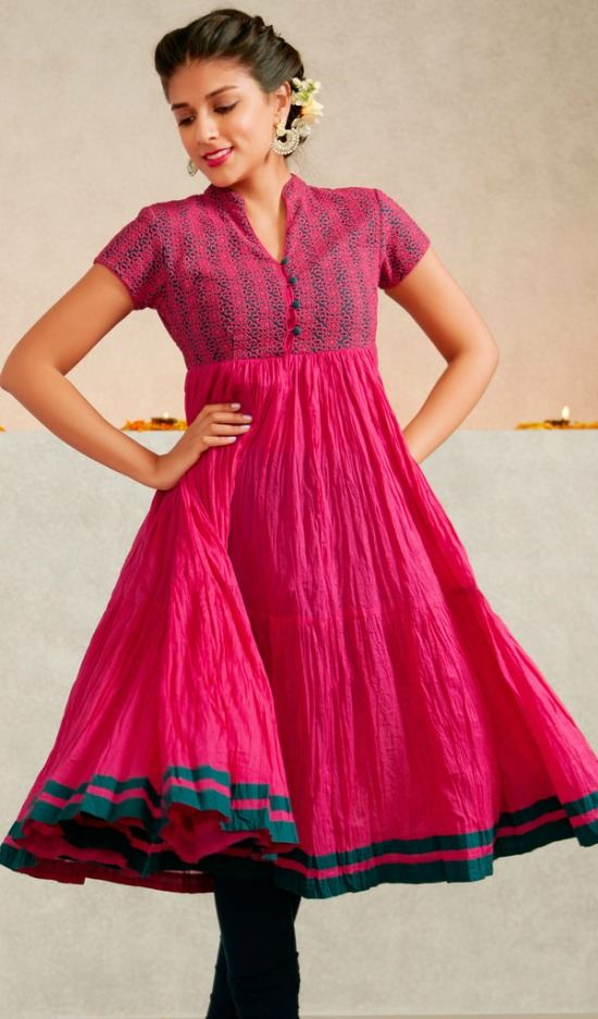 Embroidered Flared Crush Kurti