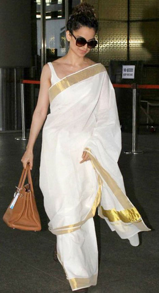 Kangana Ranaut In Cool white kasuvu saree