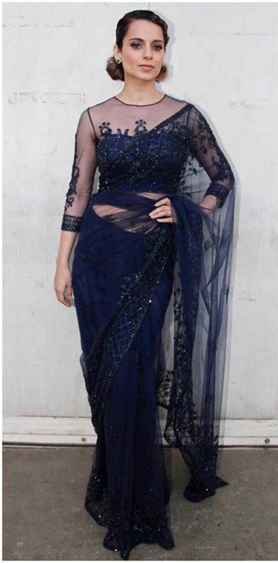 Kangana Ranaut In Midnight Blue Saree Paired With Sheer Yoke Blouse